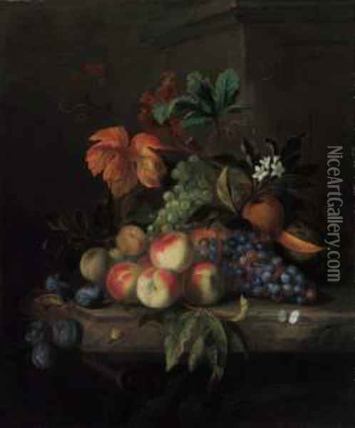 Peaches, Grapes, A Melon, Orange  Blossom With An Orange, Plums, Abutterfly And A Snail, On A Marble  Table Oil Painting - Jakob Bogdani Eperjes C