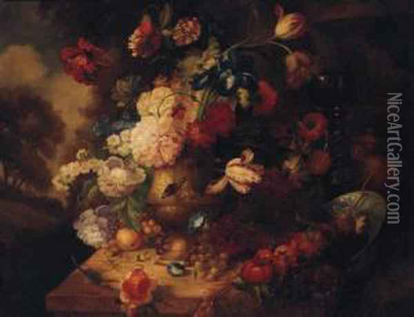 Flowers In An Urn By A Roemer And A Blue And White Dish On Apedestal In A Landscape Oil Painting - Jakob Bogdani Eperjes C