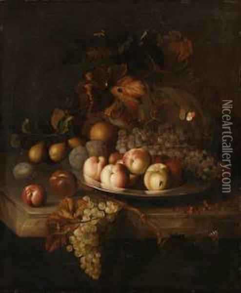 Peaches, Grapes And Plums On A  Pewter Plate, With A Melon, Pears,apples And Red Currants On A Marble  Ledge Oil Painting - Jakob Bogdani Eperjes C