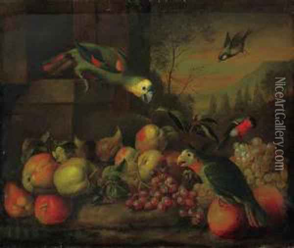 Parrots, A Bullfinch, Apples, Grapes And Oranges And A Greenfinchin A Landscape Oil Painting - Jakob Bogdani Eperjes C