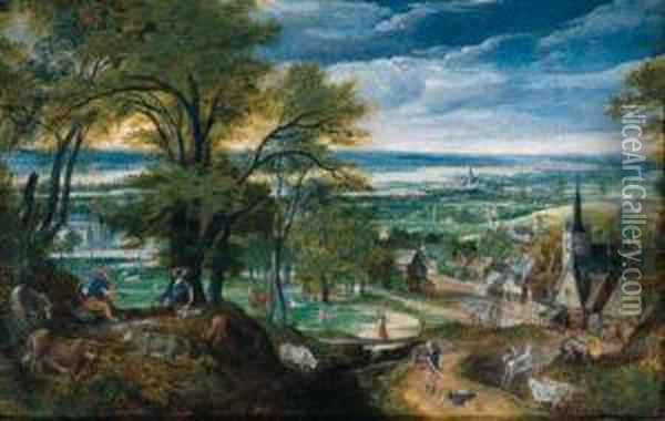 Mercury Playing The Flute As  Argus Falls Asleep And Mercury Slayingargus, A Village And A River  Valley Beyond Oil Painting - Hans Bol