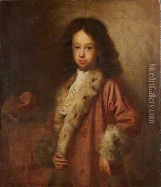 Portrait Of A Young Man,  Three-quarter-length, In A Pink Fur-trimmed Coat And A White Embroidered  Cravat Oil Painting - Sebastiano Bombelli
