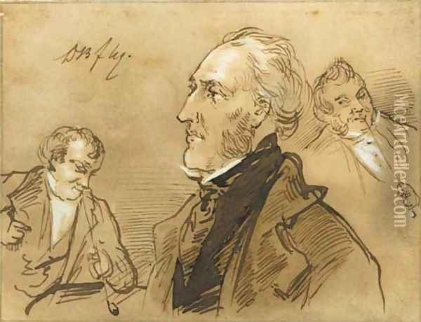 A collection of twelve drawings, pencil, black and red chalk and brush and brown ink depicting portraits, genre scenes and figure studies Oil Painting - Joseph Bles