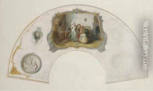 Design for a fan playing violin for baby Oil Painting - Joseph Bles