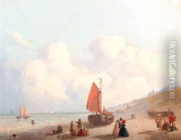 A sunny day on the beach in Schevingen Oil Painting - Joseph Bles