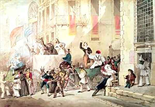 Circus Procession in Italy Oil Painting - Richard Buckner