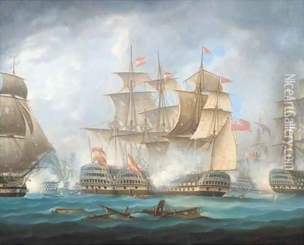 'Nelson's patent bridge for boarding First Rates' at the Battle of Cape St. Vincent, 14th February, 1797 Oil Painting - Thomas Buttersworth