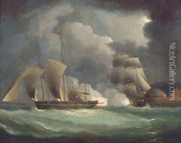 A British man-o'war engaging a pirate lugger off the coast Oil Painting - Thomas Buttersworth