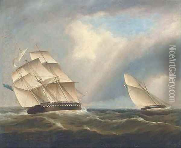 A frigate of the Royal Navy pursuing a French naval sloop Oil Painting - Thomas Buttersworth