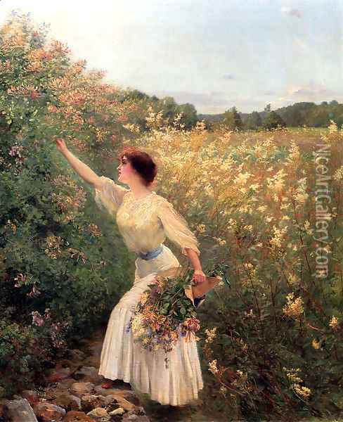 Picking Flowers Oil Painting - Pierre Andre Brouillet