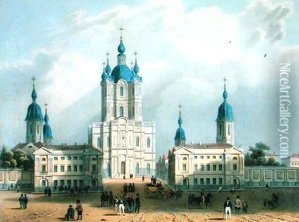 The Smolny Cloister in St. Petersburg Oil Painting - Adolphe Jean-Baptiste Bayot