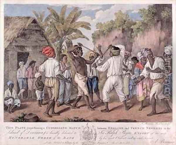 A Cudgelling Match between English and French Negroes on the Island of Dominica Oil Painting - Agostino Brunias
