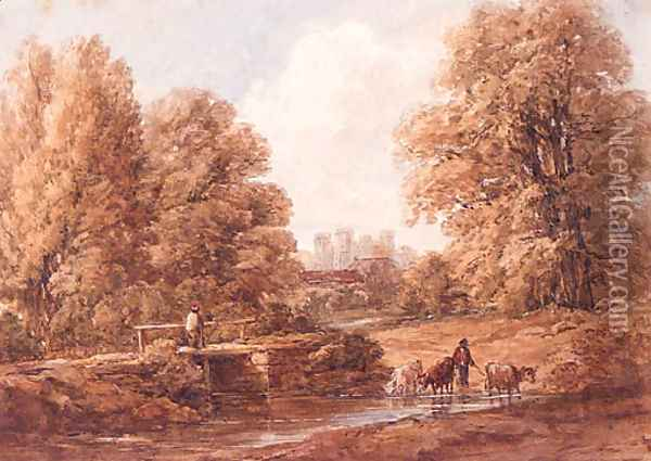 Cattle crossing a Stream with a Castle beyond Oil Painting - William James Bennett