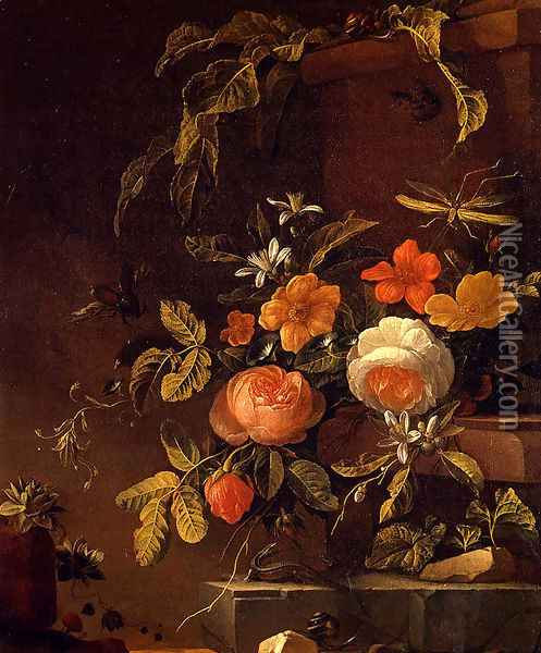 Flowers In A Landscape With A Lizard Oil Painting - Elias van den Broeck