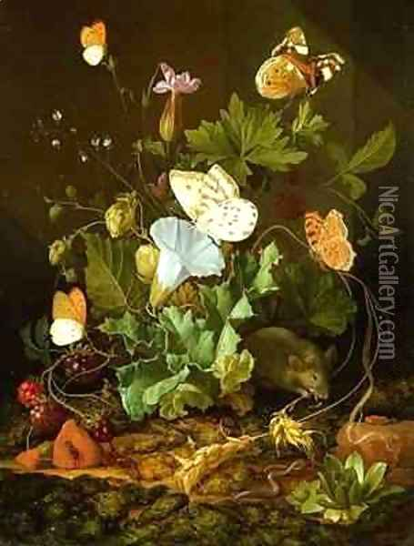 Still Life of a Forest Floor with Flowers, a Mouse and Butterflies Oil Painting - Elias van den Broeck