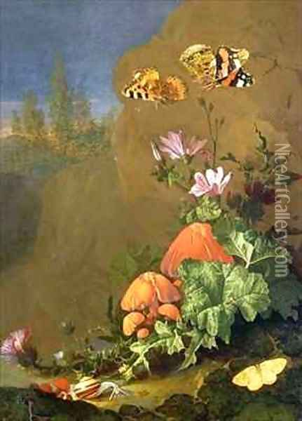 Still Life of Forest Floor with Flowers, Mushrooms and Snails Oil Painting - Elias van den Broeck