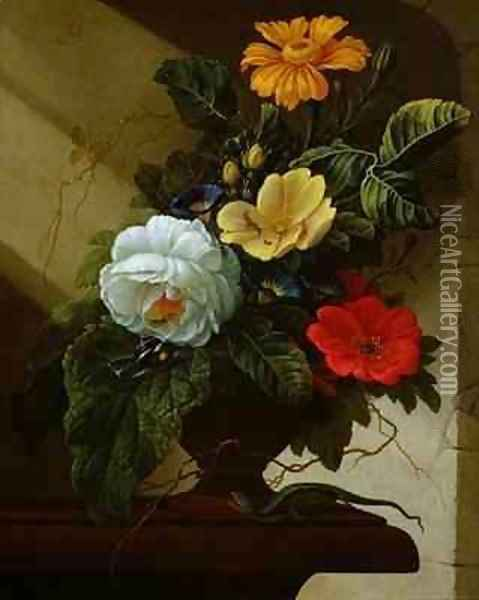 Still Life with flowers Oil Painting - Elias van den Broeck