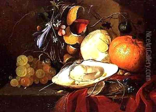 An oyster, a glass of wine and fruit on a table covered with a red velvet drape Oil Painting - Elias van den Broeck