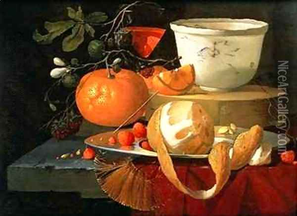 Still life of an orange, a lemon and strawberry on a pewter plate, a wan-li bowl behind Oil Painting - Elias van den Broeck