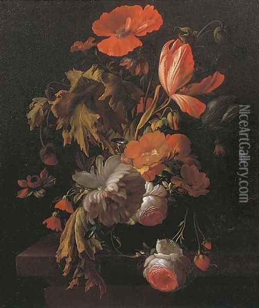 A still life with tulips, roses, poppies and other flowers in a vase on a wooden ledge Oil Painting - Elias van den Broeck
