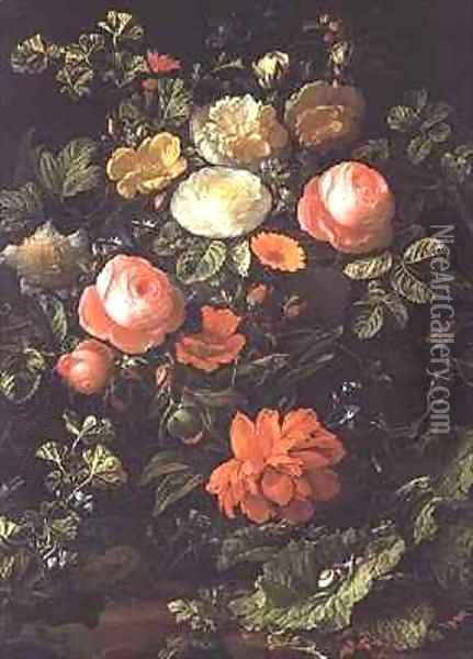 Still Life with Roses, Insects and Snails Oil Painting - Elias van den Broeck