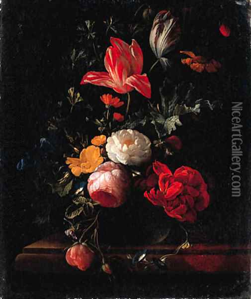 Pink and red Roses, Parrot Tulips, Camellias, Marigolds and other Flowers in a Vase on a Ledge Oil Painting - Elias van den Broeck