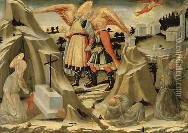 Tobias and the Angel, the Penitence of Saint Jerome and the Stigmatization of Saint Francis Oil Painting - Nero di Bicci