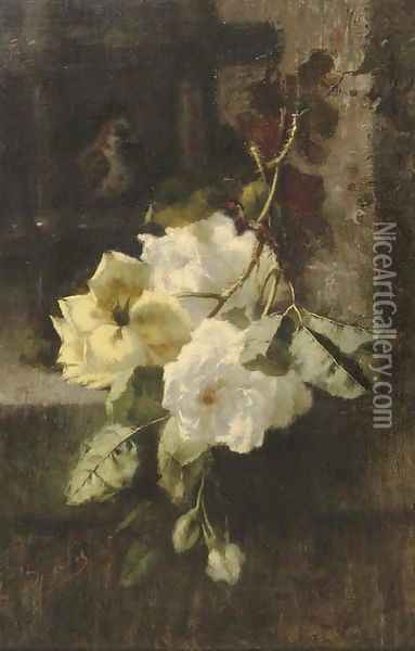 A swag of white and yellow roses Oil Painting - Ermocrate Bucchi