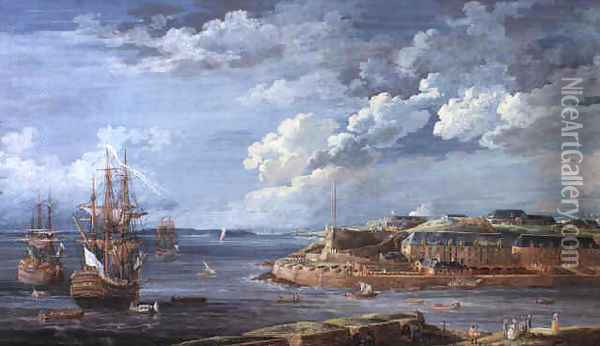 View of Brest with the Batterie Royale and men o'war in the bay 1776 Oil Painting - Louis Nicolael van Blarenberghe