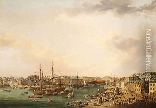 The Outer Harbor of Brest 1773 Oil Painting - Louis Nicolael van Blarenberghe
