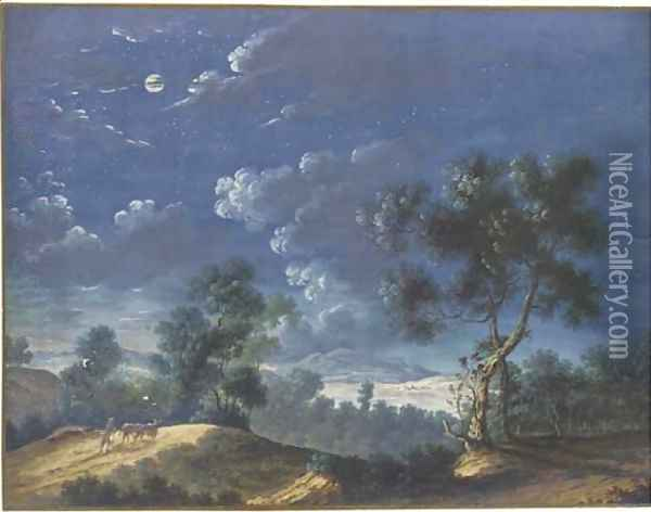 A moonlit landscape with a figure leading two cattle, a lake in the distance Oil Painting - Louis Nicolael van Blarenberghe