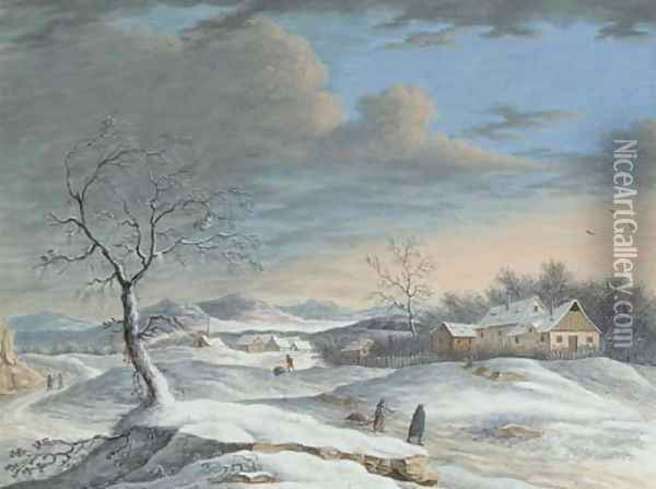 Collecting wood on a winter's day Oil Painting - Louis Nicolael van Blarenberghe