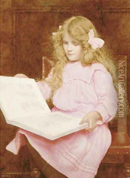 A young girl reading a book, seated in an interior Oil Painting - George Lawrence Bulleid