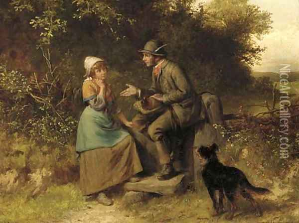 Gossip at the stile Oil Painting - Valentin Walter Bromley