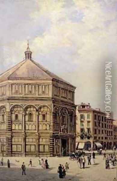 A View of the Baptistry in Florence Oil Painting - Antoinetta Brandeis