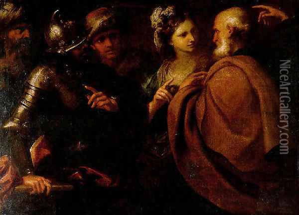 The Denial of Saint Peter and The Offering of Abigail Oil Painting - Bartolomeo Biscaino