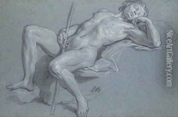 A reclining nude holding a staff Oil Painting - Louis the Younger Boullogne