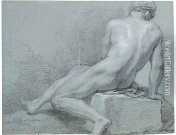 A seated nude, seen from behind Oil Painting - Louis the Younger Boullogne
