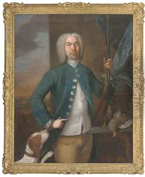 Portrait of a gentleman, holding a gun in his left hand, a dog to his side, with a partridge and casket of gun-powder on a ledge, an extensive landscape beyond, 1731 Oil Painting - Richard van Bleeck