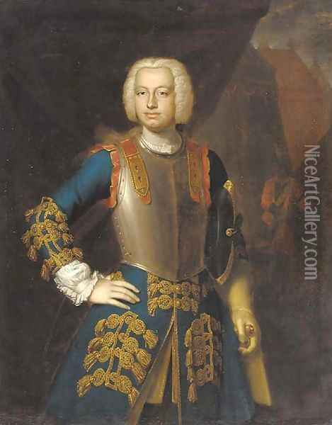 Portrait of a gentleman, three-quarter-length, in a blue and gold embroidered coat and a breastplate, a view of a military encampment beyond Oil Painting - Richard van Bleeck