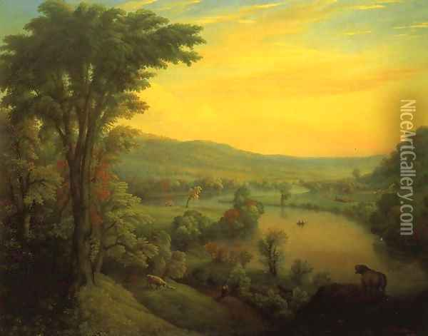 View of the Mohawk near Little Falls Oil Painting - Manneville (Elihu Dearing) Brown