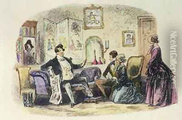 Prince Turveydrop blesses his son and daughter-in-law when they announce their engagement with Esther Summerson looking on Oil Painting - Hablot Knight Browne