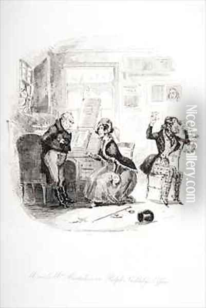 Mr. and Mrs. Mantalini in Ralph Nickleby's office Abetween Sir Mulberry and his pupil Oil Painting - Hablot Knight Browne