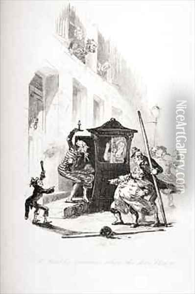 Mr. Winkle's situation when the door blew to Oil Painting - Hablot Knight Browne