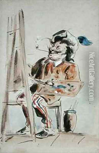 Caricature of an artist Oil Painting - Hablot Knight Browne