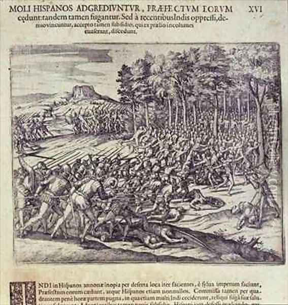 Battle between Spanish Soldiers and Indians Oil Painting - Theodore de Bry