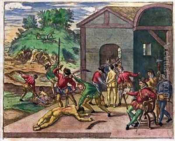 Cruelty of the Spanish Colonists towards the Indians, Mexico Oil Painting - Theodore de Bry