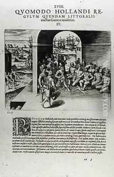 Arrival of the Dutch Leaders in Guinea The Negotiation for the Purchase of Slaves Destined to be Sold Back to the Spanish Conquistadors Oil Painting - Theodore de Bry