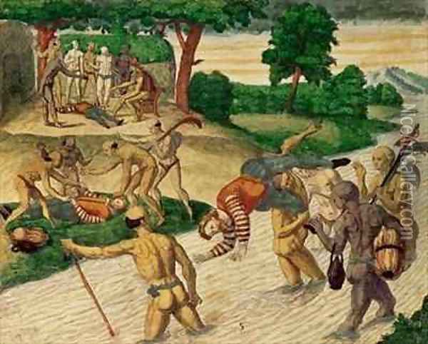 South American Indians drowning Spaniards to see if they are immortal Oil Painting - Theodore de Bry