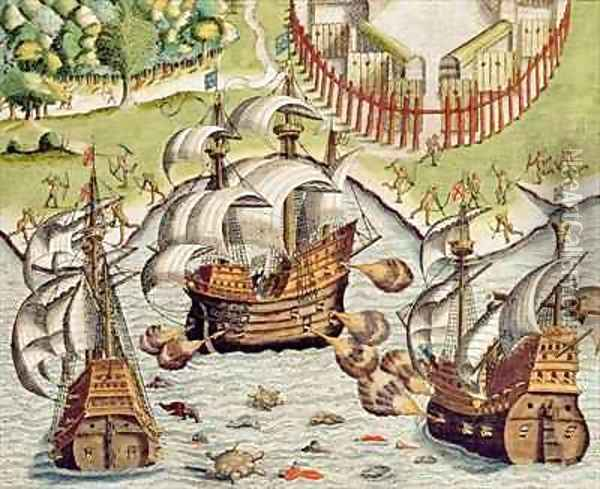 Naval Battle between the Portuguese and French in the Seas off the Potiguaran Territories Oil Painting - Theodore de Bry